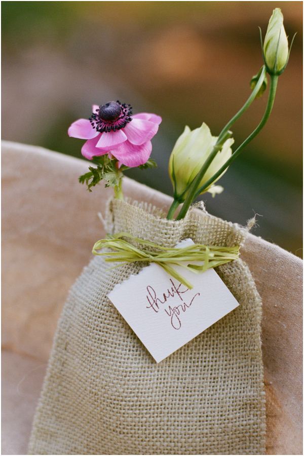 Gorgeous flower filled burlap wedding favors | Stefanie Kapra Fine Art Wedding Photography
