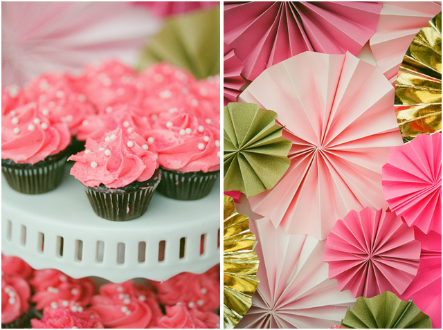 This sparkly pink and gold first year Birthday party for Reagan was ...