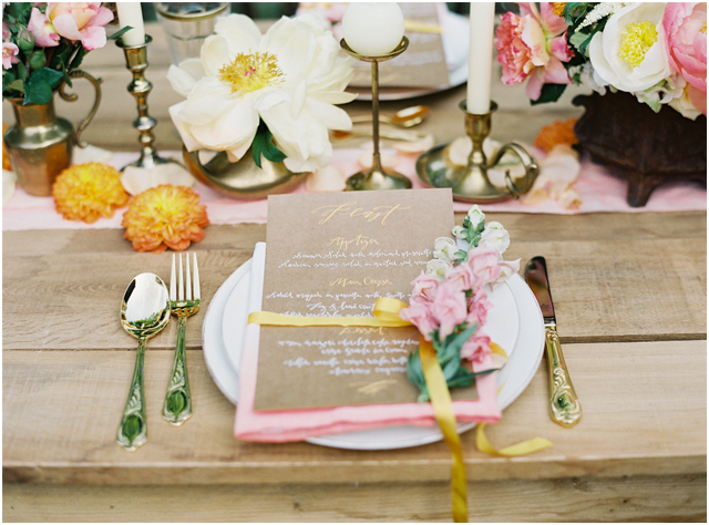 Stefanie Kapra Photo - boho wedding - calligraphy menu - Destination weddings - fine art film photographer