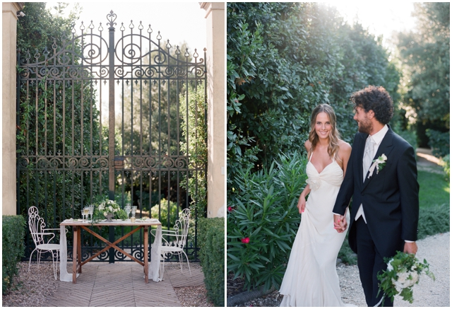 rustic wedding table setup and decor for country house wedding in Italy